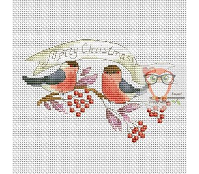 Christmas Cross stitch pattern Red Bullfinches}
