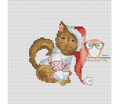 Christmas Cross stitch pattern Santa Cat}