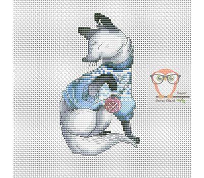 Christmas Cross stitch pattern White Fox}