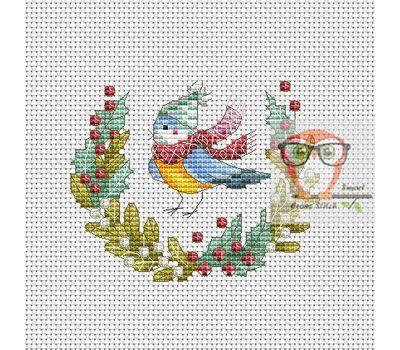 Christmas Cross stitch pattern Winter Bird}