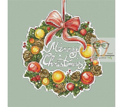 Christmas Wreath cross stitch pattern}