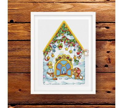 Christmas cross stitch pattern House with Mouse}