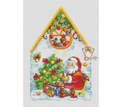 Christmas cross stitch pattern Santa's House}