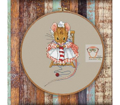 Cute Cross stitch pattern Mouse the Knitter}