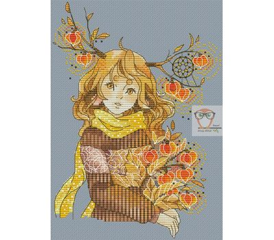 Fantasy Cross stitch pattern Girl with physalis}