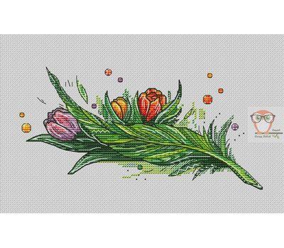 Feather Cross stitch pattern April}