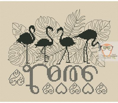 Flamingo Cross stitch pattern Love}