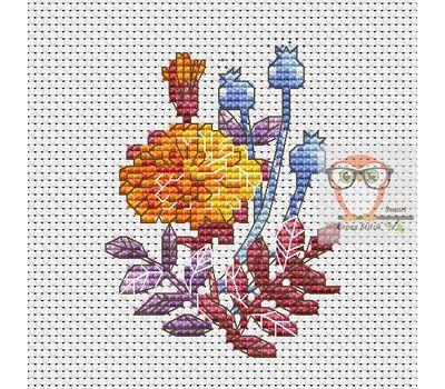 Floral Cross stitch pattern Marigold Flowers}