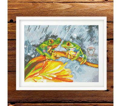 Forest Cross stitch pattern Frogs}