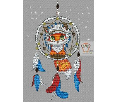 Fox Cross stitch pattern Dream Catcher}
