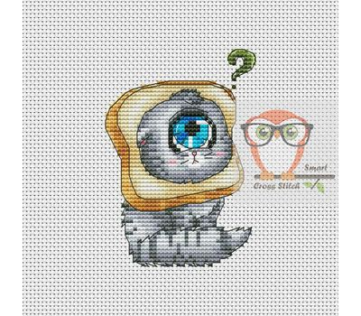 Funny Cross stitch pattern Cyclops Cat & Sandwich}