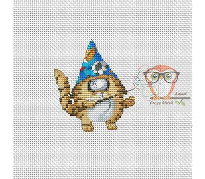 Funny Cross stitch pattern Cyclops Cat The Wizard}
