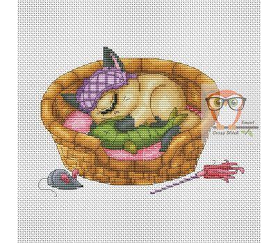 Funny Cross stitch pattern Sleeping Cyclops Cat}