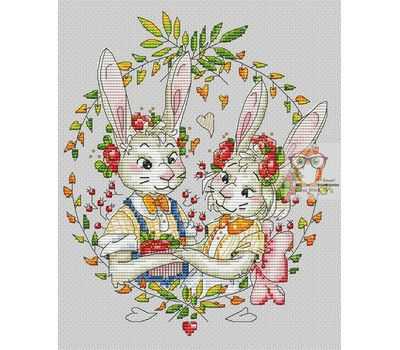 Love Cross stitch pattern Bunnies Couple in color}