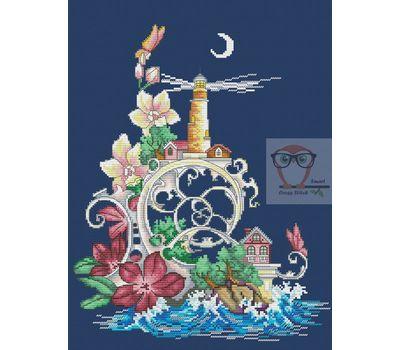 Marine Cross stitch pattern Lighthouse Fantasy}