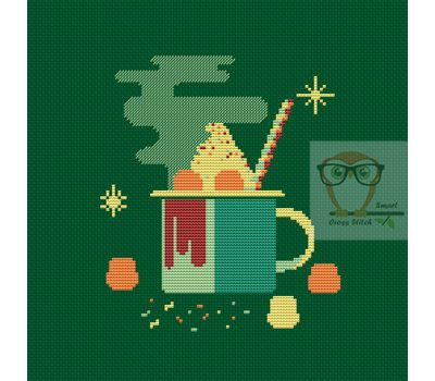 Marshmallow cocoa mug funny cross stitch pattern green canvas