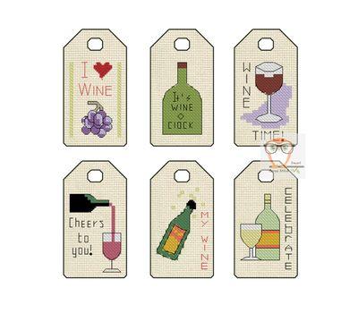 Wine Gift Tags label cross stitch pattern