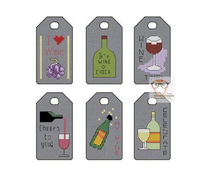 Wine Gift Tags label cross stitch pattern gray canvas