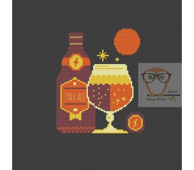 Winter Cocktais Ale Beer funny cross stitch pattern black fabric