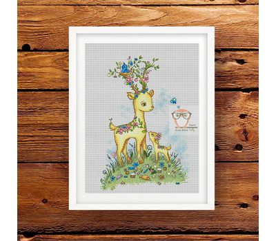 "Baby cross stitch chart ""Deer & Fawn"""