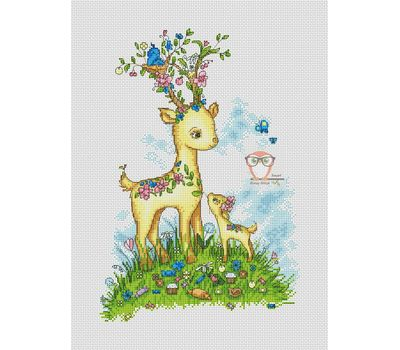 Baby cross stitch pattern Deer & Fawn}