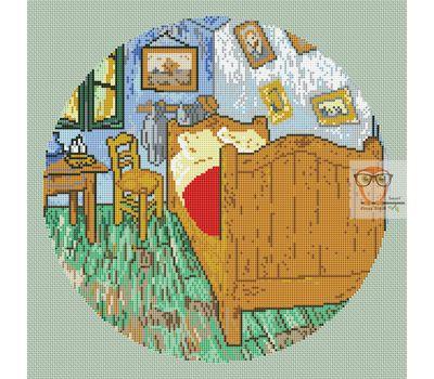 Van Gogh cross stitch pattern The Bedroom mint canvas