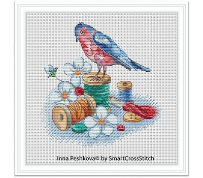 Needle Bird cross stitch pattern