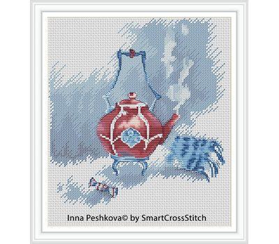 Cozy Winter teapot Cross Stitch chart