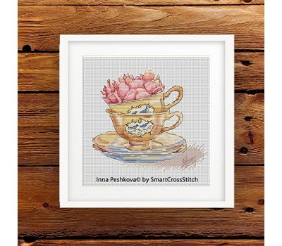 Roses in the cup cross stitch pattern framed