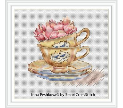 Roses in the cup cross stitch chart