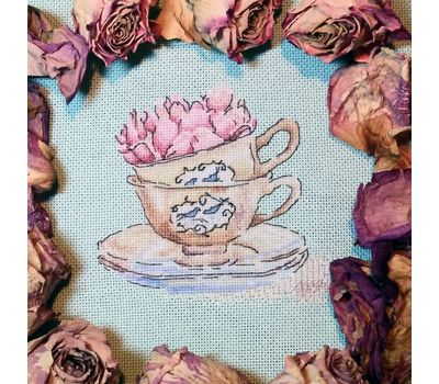 Roses in the cup cross stitch chart ready