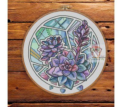 Floral Cross stitch pattern Succulents pdf pattern}