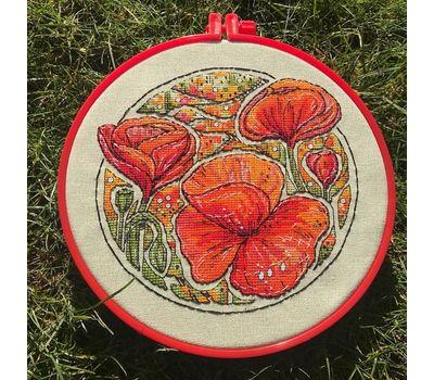 Floral cross stitch pattern Poppies}
