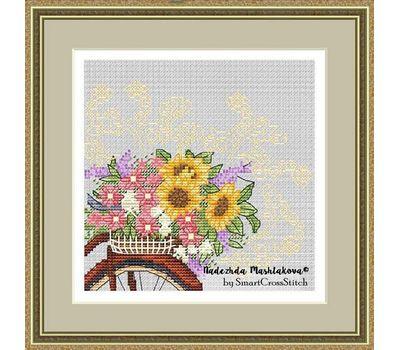 Flower Bicycle Free Cross Stitch Chart