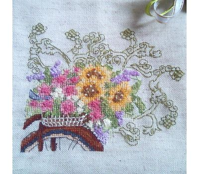 Flower Bicycle Free Cross Stitch Pattern stitched design