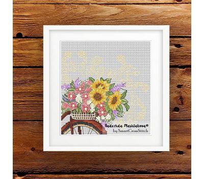 Flower Bicycle Free Cross Stitch Pattern