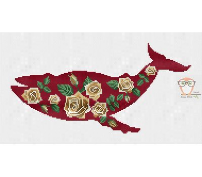 Red floral Whale cross stitch chart
