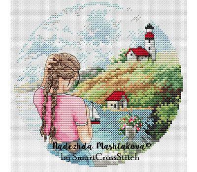 French Riviera Travel Round cross stitch chart