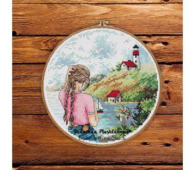 French Riviera Travel Round cross stitch pattern framed