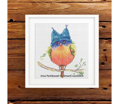 Funny cross stitch pattern ''Little Bird'' framed