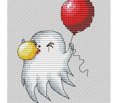 Halloween cross stitch pattern Ghost with balloon}