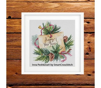 Squirrel and Bee Cross stitch pattern square frame
