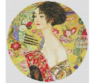Lady With Fan by Klimt cross stitch chart