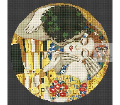 The Kiss by Klimt cross stitch chart - black canvas
