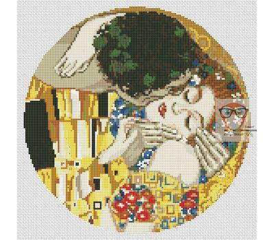 The Kiss by Klimt cross stitch pattern - white canvas