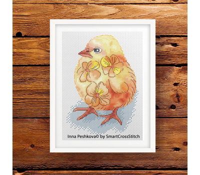 Little Chicken Cross stitch pattern framed