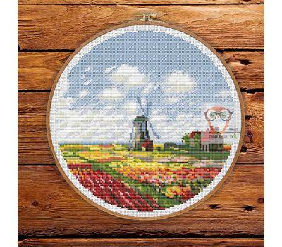 Field Of Tulips Monet cross stitch pattern