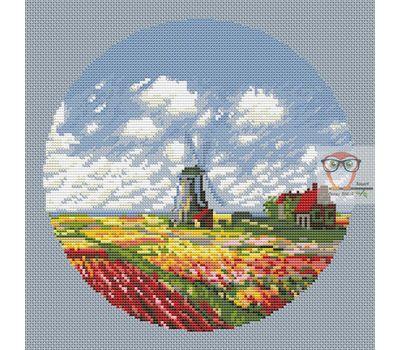 Field Of Tulips  and Windmill Monet cross stitch pattern