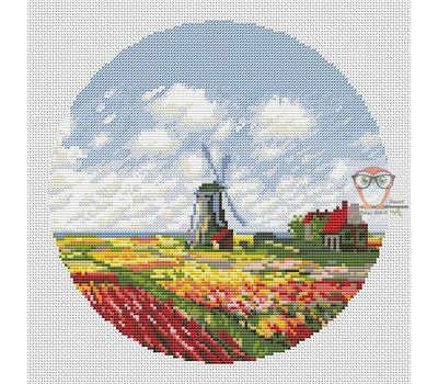 Field Of Tulips Monet cross stitch chart