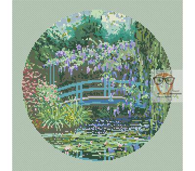 Japanese Bridge Monet cross stitch chart